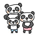 パンダの親子3人